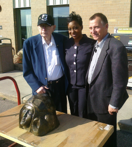 Former POW Wally Grotz, UPS Sales Representative Lisa Anderson, and Wally's son, Jim Grotz
