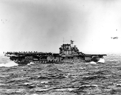 One of Doolittle's B-25's launching from the deck of the USS Hornet on April 18th, 1942.  (Courtesy: US Navy archives)