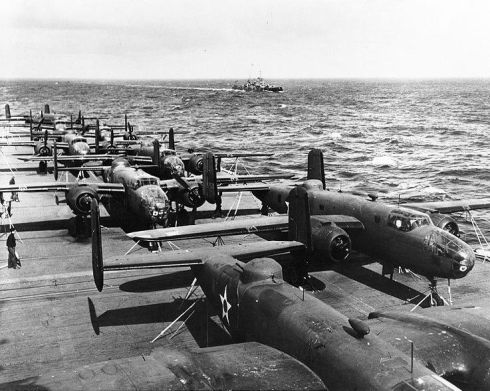 Doolittle's B-25's on the deck of the USS Hornet.  (Courtesy: US Navy archives)