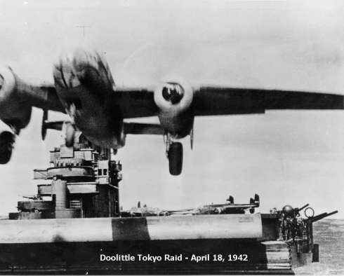 One of Doolittle's B-25's launching from the USS Hornet.  (Courtesy: US Navy Archives)