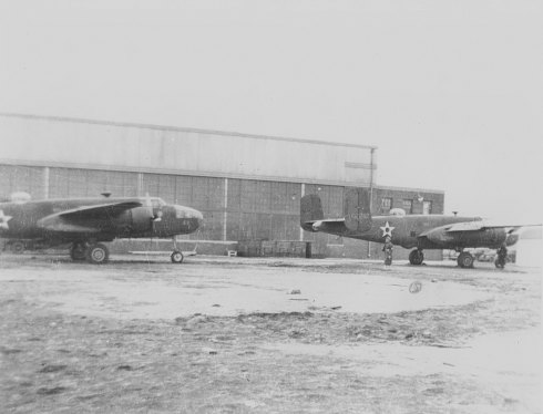 Two of Doolittle's B-25' awaiting extra fuel tanks at the Mid-Continent Airlines Hangar in January 1942  (Courtesy: Tom Norrbohm)