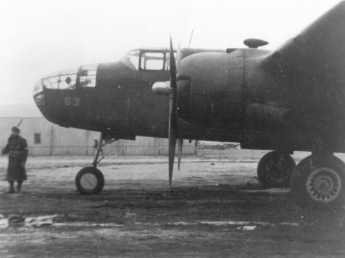 Another one of Doolittle's B-25's at Wold-Chamberlin Field in Minneapolis. This picture is significant for two reasons. First, it is taken inside the securty zone, perhaps by a contractor.  Second, is the presence of an armed sentry.  The sentry provides importance to the secrecry and military importance of the modificaitons being conducted on the B-25's.