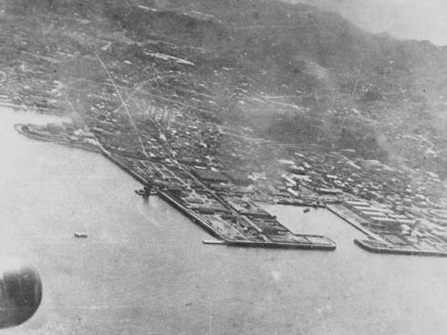 Picture taken from the cockpit of oneof the Doolittle Raiders over Tokyo.  (Courtesy: US Air Force archives)