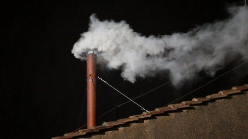 White smoke rising from the Sistine Chapel on March 13, 2013 signifying cardinals have elected a new pope.