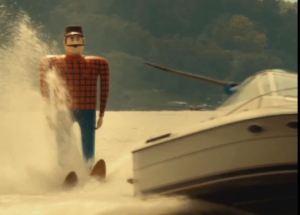 MNsure ad featuring Paul Bunyan water skiing