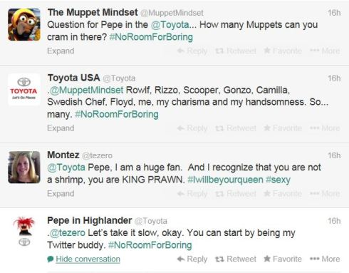 Figure 1 - Interactive Tweets with Pepe and the Muppets on @Toyota