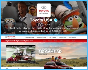 Figure 1 -  Toyota's Twitter and Highlander pages