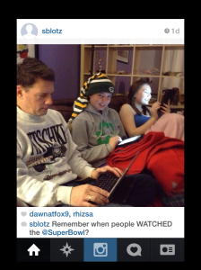 Picture 1 - Blotz family Tweeting during Super Bowl.