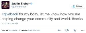 Figure 2 - Justin Bieber's #giveback campaign.